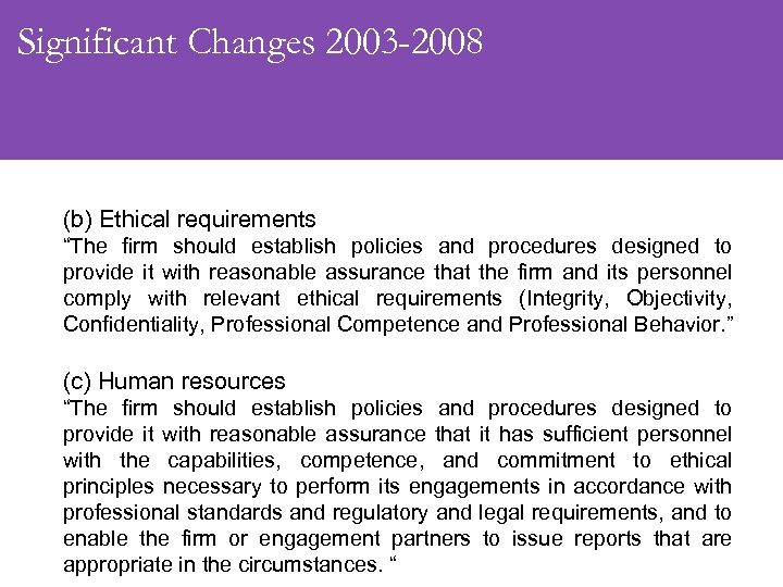 "Significant Changes 2003 -2008 (b) Ethical requirements ""The firm should establish policies and procedures"