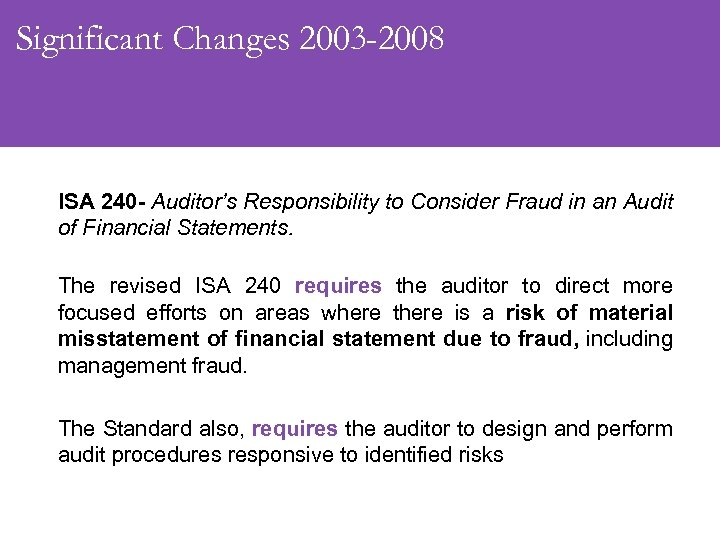 Significant Changes 2003 -2008 ISA 240 - Auditor's Responsibility to Consider Fraud in an