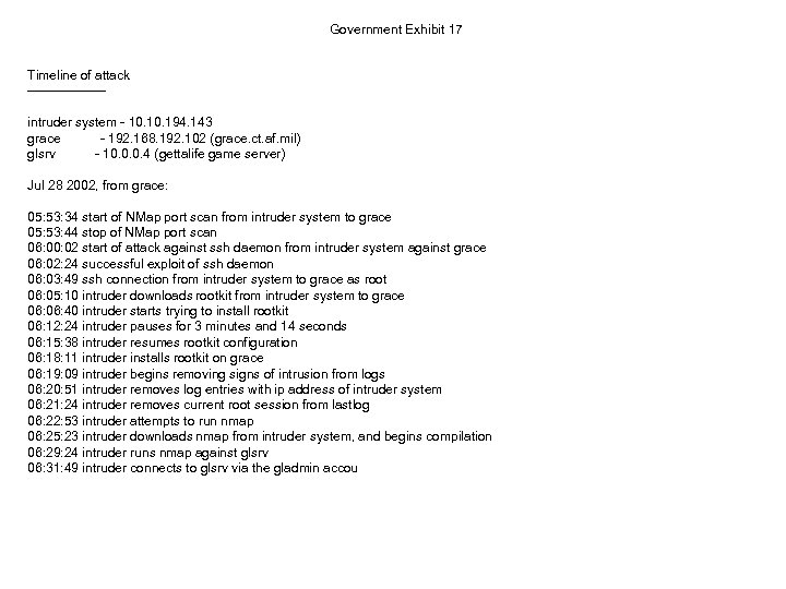Government Exhibit 17 Timeline of attack ---------intruder system - 10. 194. 143 grace -