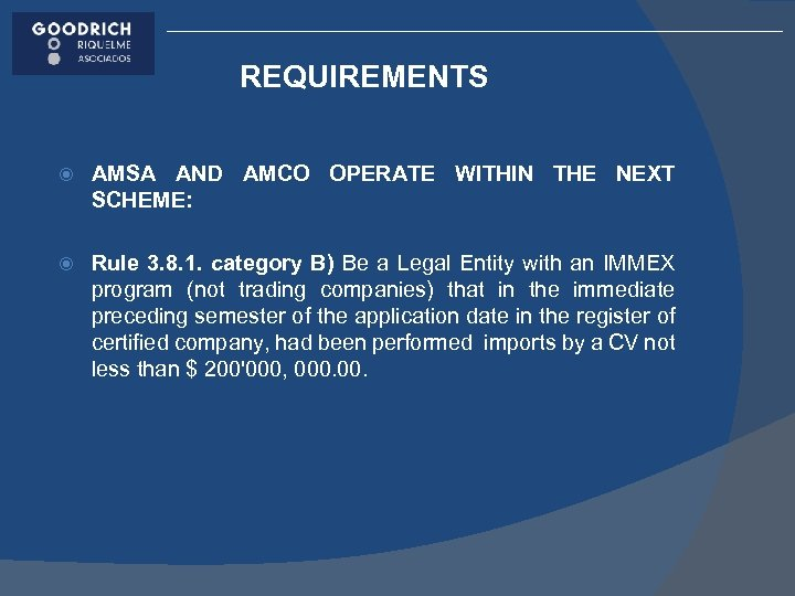 REQUIREMENTS AMSA AND AMCO OPERATE WITHIN THE NEXT SCHEME: Rule 3. 8. 1. category
