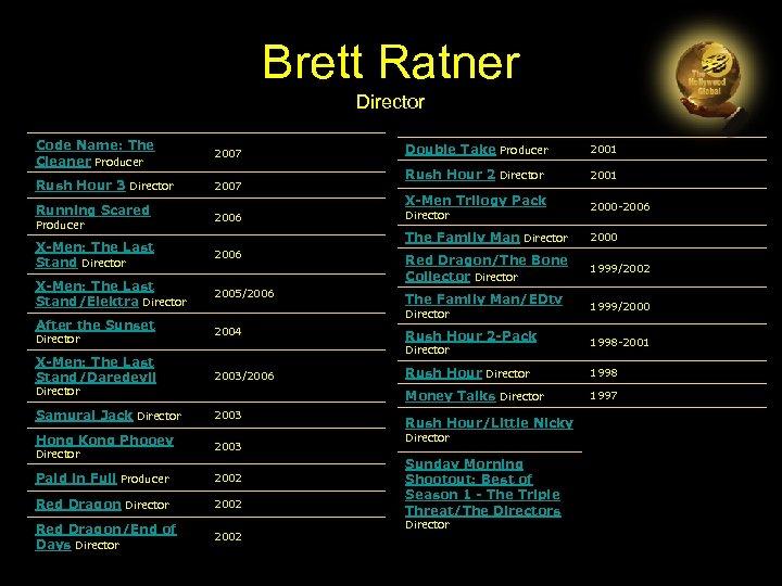 Brett Ratner Director Code Name: The Cleaner Producer 2007 Rush Hour 3 Director 2007