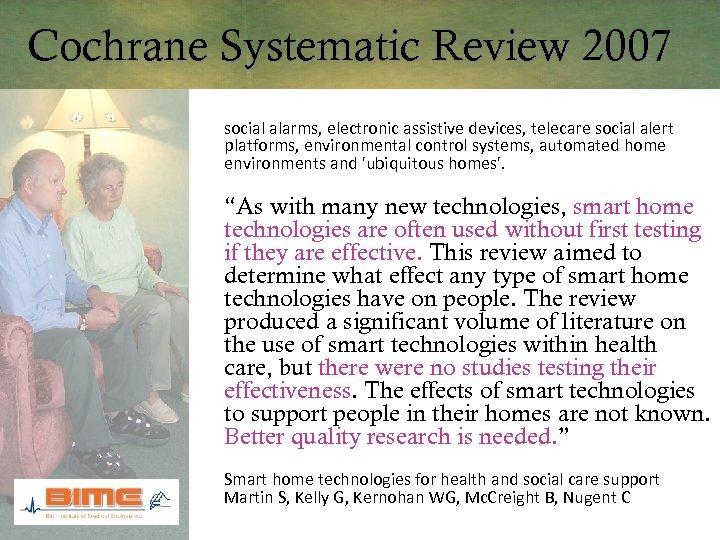 Cochrane Systematic Review 2007 social alarms, electronic assistive devices, telecare social alert platforms, environmental