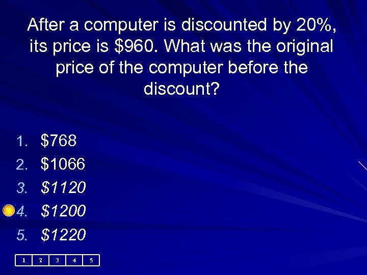 After a computer is discounted by 20%, its price is $960. What was the