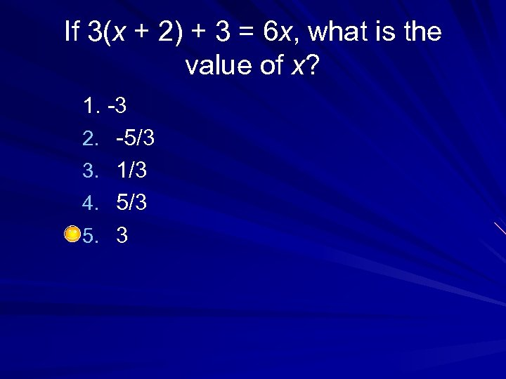 If 3(x + 2) + 3 = 6 x, what is the value of