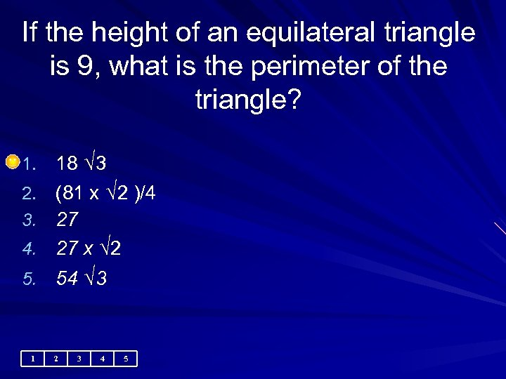 If the height of an equilateral triangle is 9, what is the perimeter of