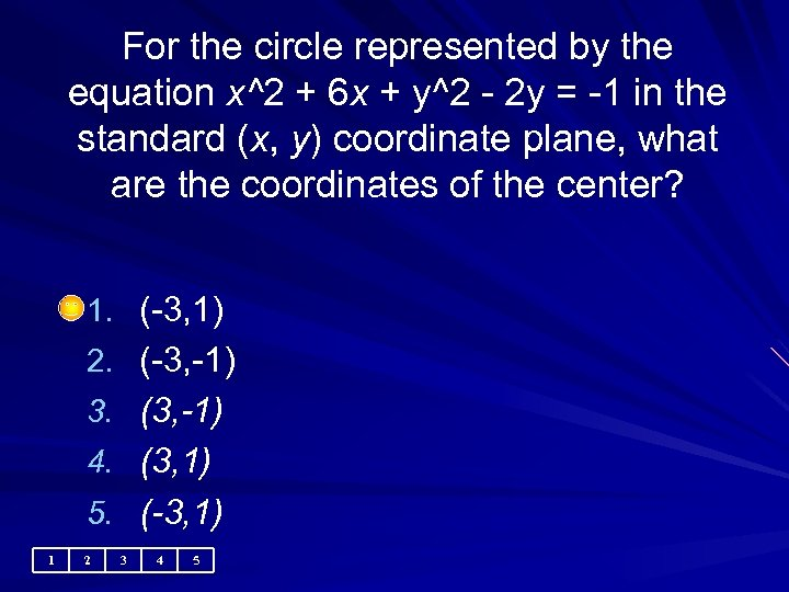 For the circle represented by the equation x^2 + 6 x + y^2 -