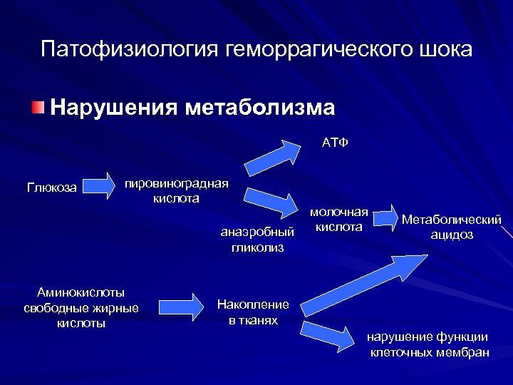 Патофизиология геморрагического шока Нарушения метаболизма АТФ Глюкоза пировиноградная кислота анаэробный гликолиз Аминокислоты свободные жирные