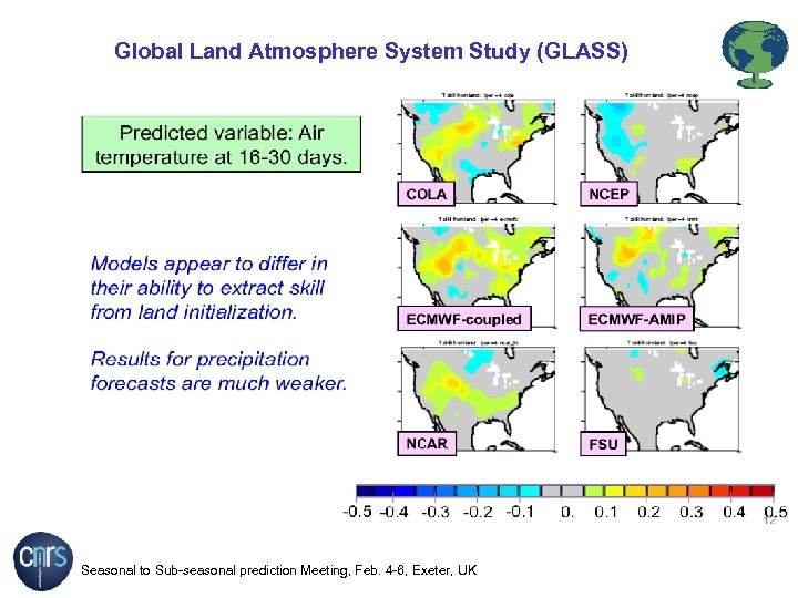 Global Land Atmosphere System Study (GLASS) Seasonal to Sub-seasonal prediction Meeting, Feb. 4 -6,