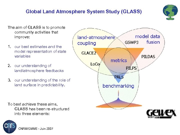 Global Land Atmosphere System Study (GLASS) The aim of GLASS is to promote community
