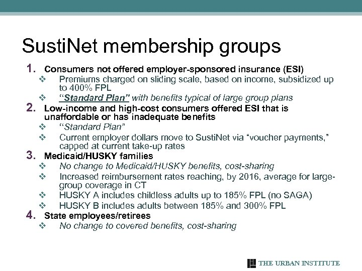 Susti. Net membership groups 1. Consumers not offered employer-sponsored insurance (ESI) v Premiums charged