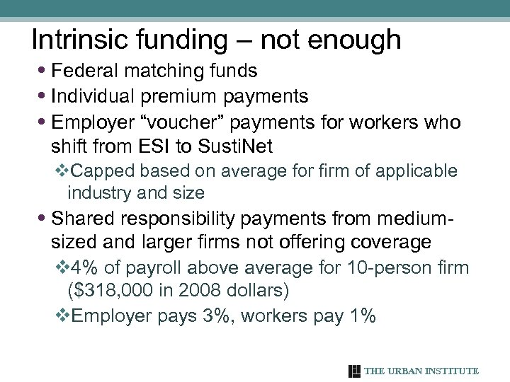 Intrinsic funding – not enough • Federal matching funds • Individual premium payments •