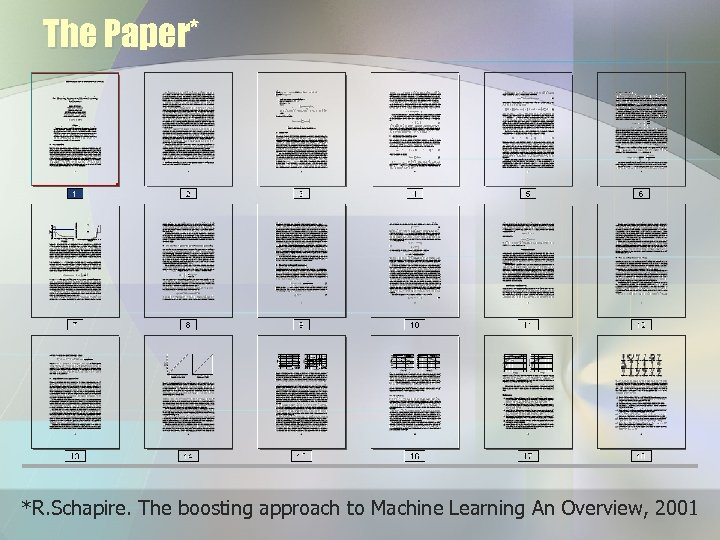 The Paper* *R. Schapire. The boosting approach to Machine Learning An Overview, 2001