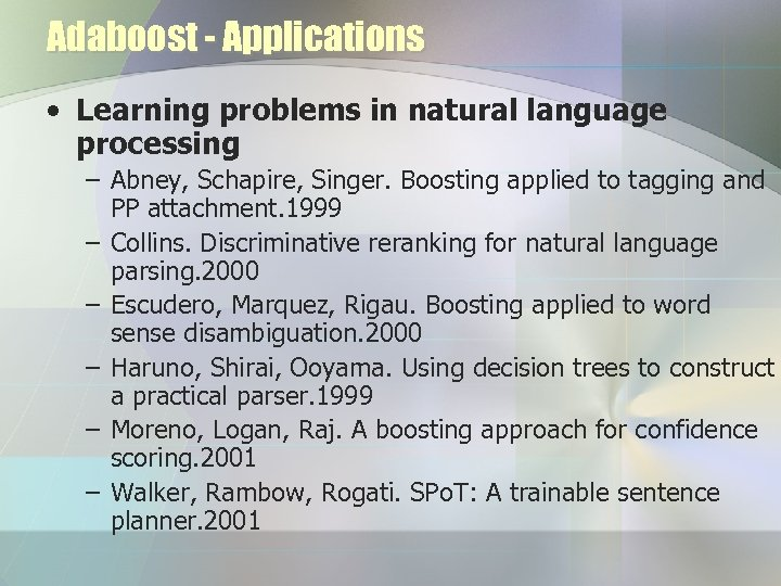 Adaboost - Applications • Learning problems in natural language processing – Abney, Schapire, Singer.