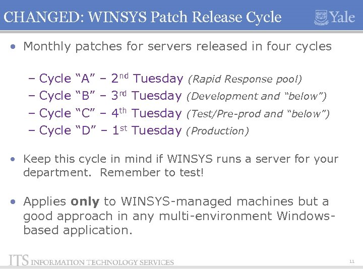 CHANGED: WINSYS Patch Release Cycle • Monthly patches for servers released in four cycles