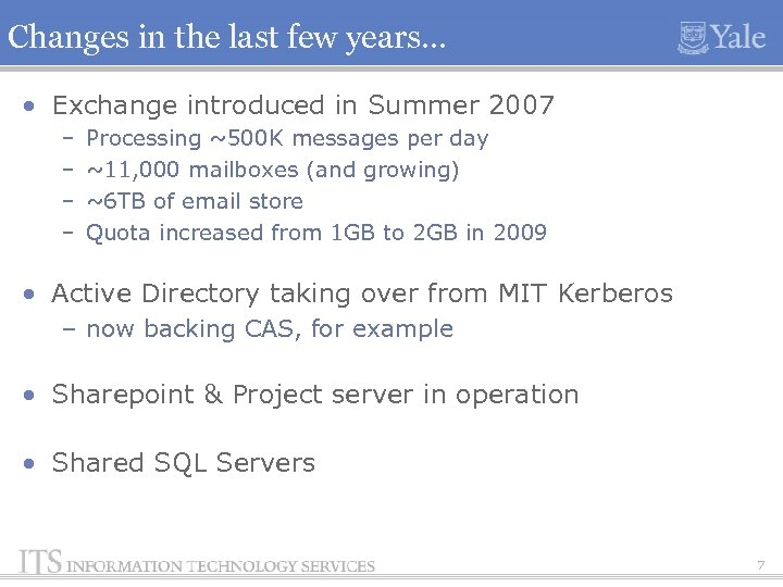 Changes in the last few years… • Exchange introduced in Summer 2007 – –