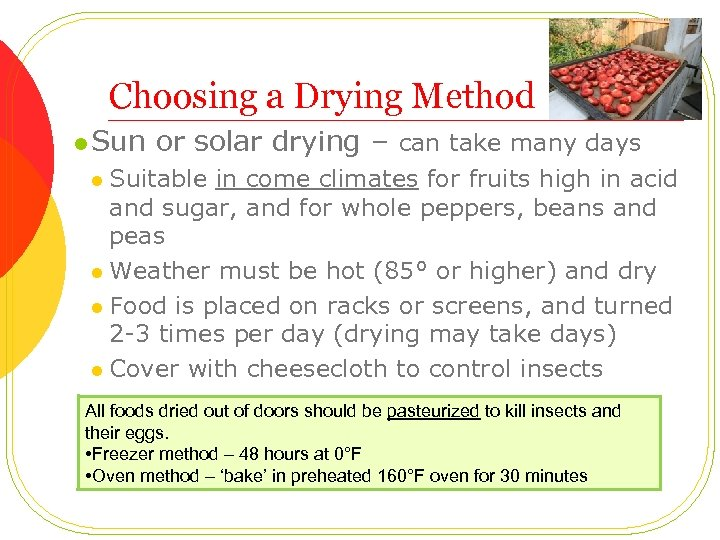 Choosing a Drying Method l Sun or solar drying – can take many days