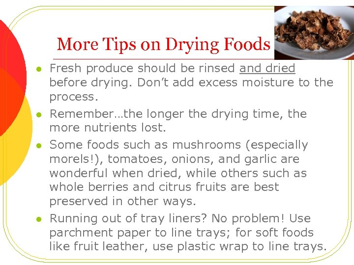 More Tips on Drying Foods l l Fresh produce should be rinsed and dried