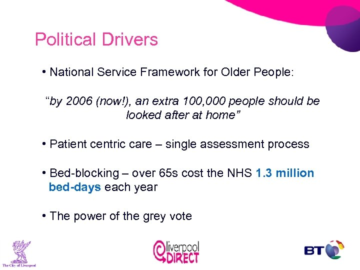"""Political Drivers • National Service Framework for Older People: """"by 2006 (now!), an extra"""