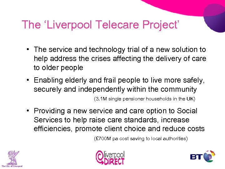 The 'Liverpool Telecare Project' • The service and technology trial of a new solution