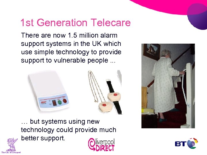 1 st Generation Telecare There are now 1. 5 million alarm support systems in