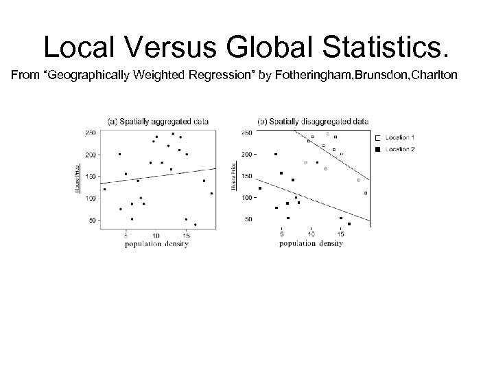 """Local Versus Global Statistics. From """"Geographically Weighted Regression"""" by Fotheringham, Brunsdon, Charlton"""