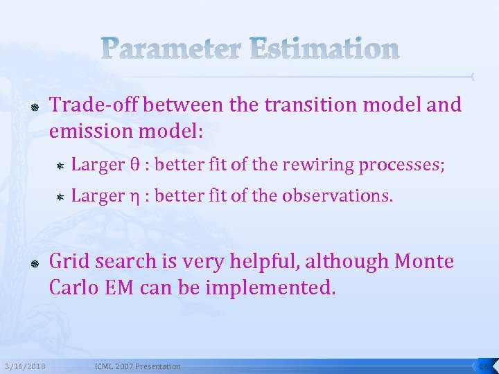 Parameter Estimation Trade-off between the transition model and emission model: 3/16/2018 Larger θ :