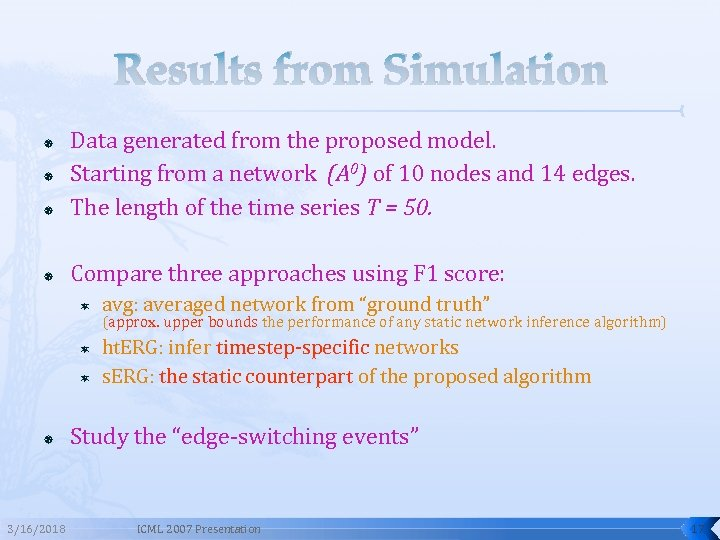 Results from Simulation Data generated from the proposed model. Starting from a network (A