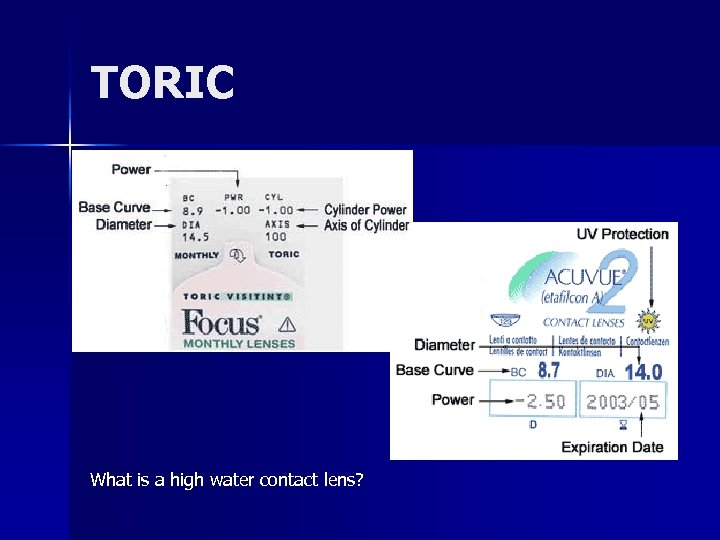 TORIC What is a high water contact lens?