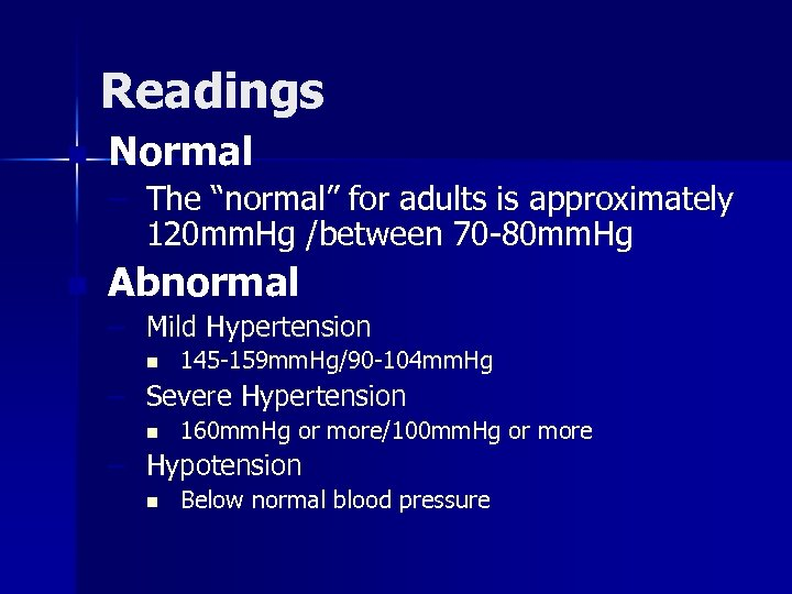 """Readings n Normal – The """"normal"""" for adults is approximately 120 mm. Hg /between"""
