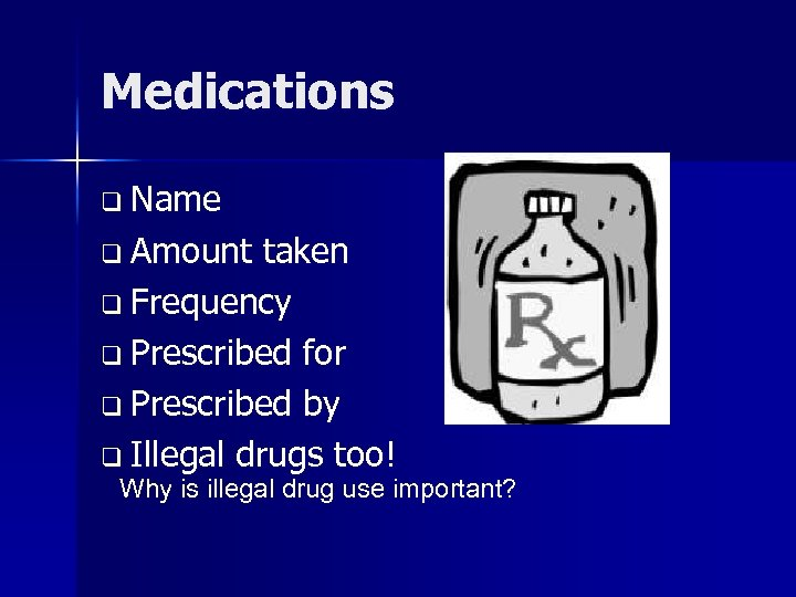 Medications q Name q Amount taken q Frequency q Prescribed for q Prescribed by