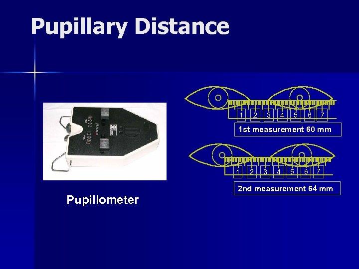 Pupillary Distance 1 2 3 4 5 6 7 1 st measurement 60 mm