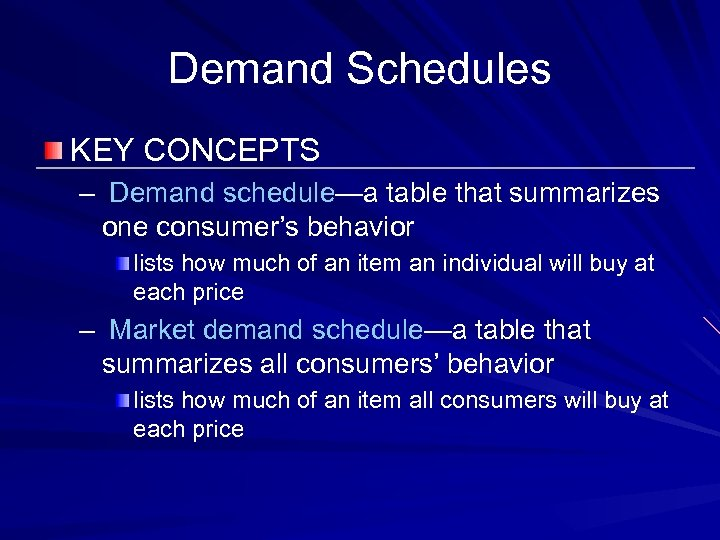 Demand Schedules KEY CONCEPTS – Demand schedule—a table that summarizes one consumer's behavior lists