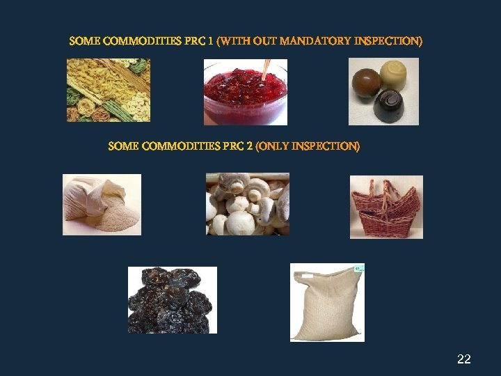 SOME COMMODITIES PRC 1 (WITH OUT MANDATORY INSPECTION) SOME COMMODITIES PRC 2 (ONLY INSPECTION)