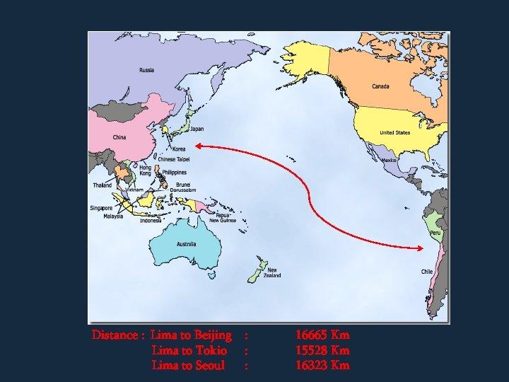 Distance : Lima to Beijing Lima to Tokio Lima to Seoul : : :