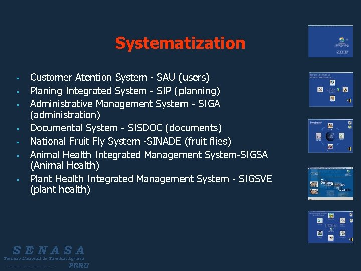 Systematization • • Customer Atention System - SAU (users) Planing Integrated System - SIP