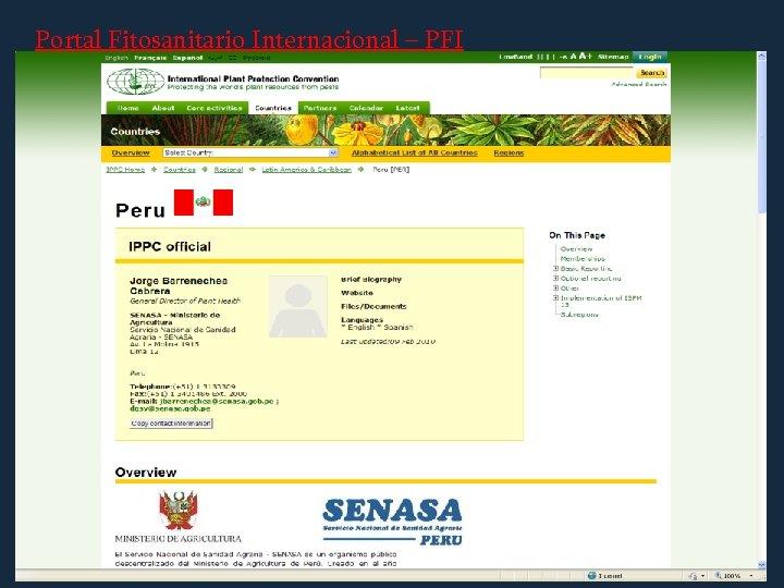 Portal Fitosanitario Internacional – PFI