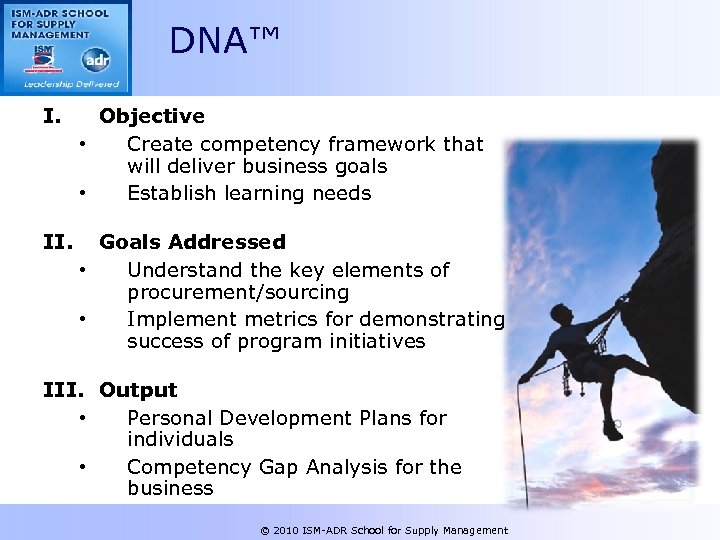 DNA™ I. Objective • Create competency framework that will deliver business goals • Establish