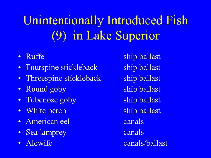 Unintentionally Introduced Fish (9) in Lake Superior • • • Ruffe Fourspine stickleback Threespine
