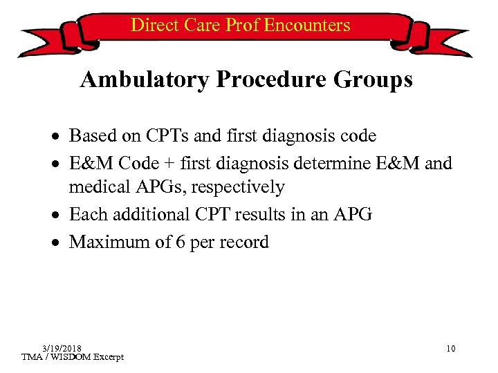 Direct Care Prof Encounters Ambulatory Procedure Groups · Based on CPTs and first diagnosis