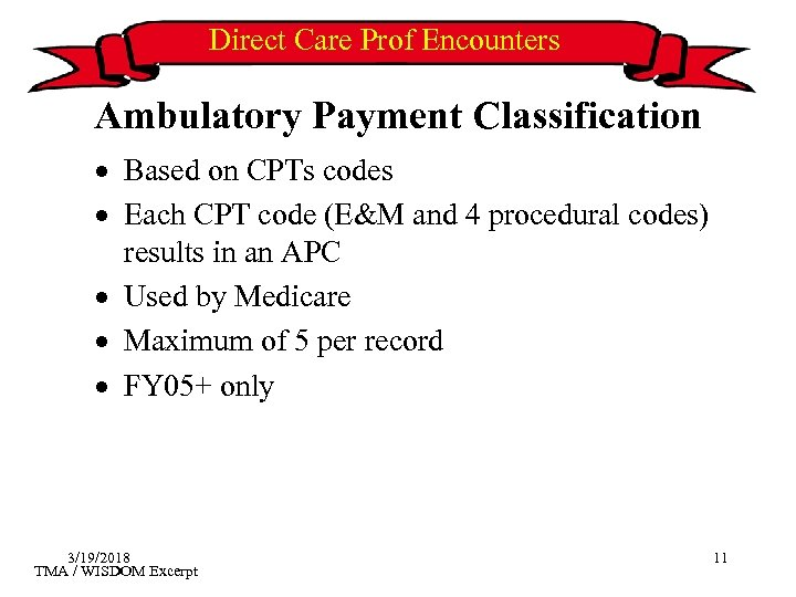 Direct Care Prof Encounters Ambulatory Payment Classification · Based on CPTs codes · Each
