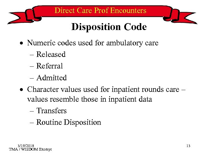 Direct Care Prof Encounters Disposition Code · Numeric codes used for ambulatory care –