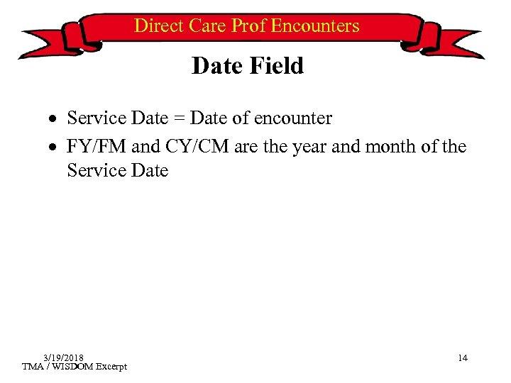 Direct Care Prof Encounters Date Field · Service Date = Date of encounter ·