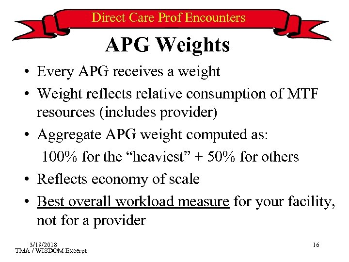 Direct Care Prof Encounters APG Weights • Every APG receives a weight • Weight