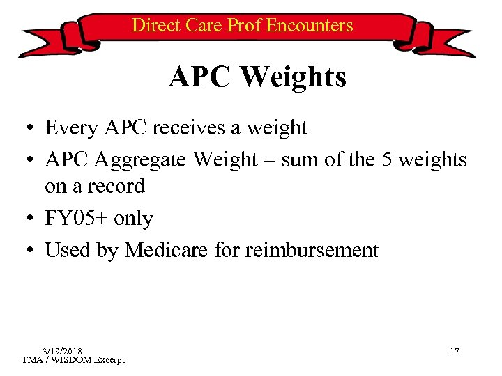 Direct Care Prof Encounters APC Weights • Every APC receives a weight • APC