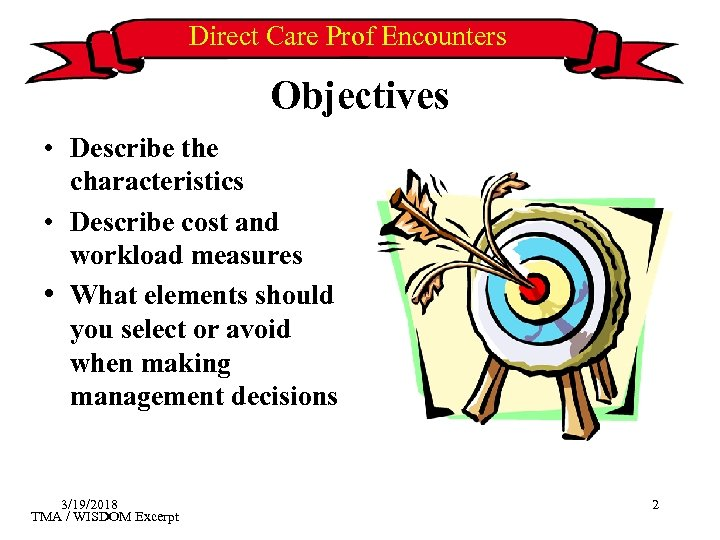Direct Care Prof Encounters Objectives • Describe the characteristics • Describe cost and workload