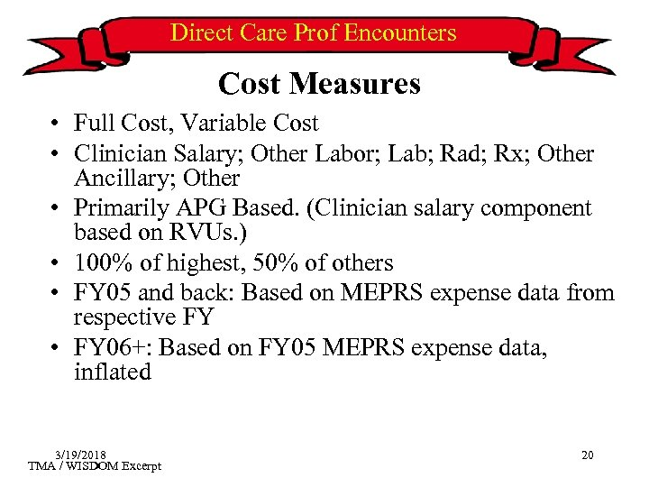 Direct Care Prof Encounters Cost Measures • Full Cost, Variable Cost • Clinician Salary;