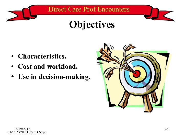 Direct Care Prof Encounters Objectives • Characteristics. • Cost and workload. • Use in