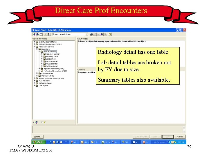 Direct Care Prof Encounters Radiology detail has one table. Lab detail tables are broken