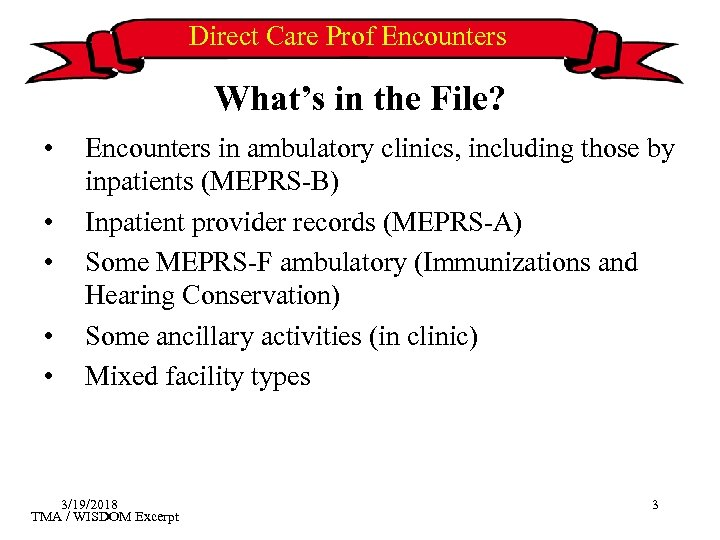 Direct Care Prof Encounters What's in the File? • • • Encounters in ambulatory