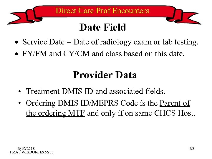 Direct Care Prof Encounters Date Field · Service Date = Date of radiology exam